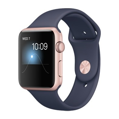 Картинки по запросу Apple Watch Series 2 42mm Rose Gold Aluminum Case With Midnight Blue Sport Band (MNPL2)