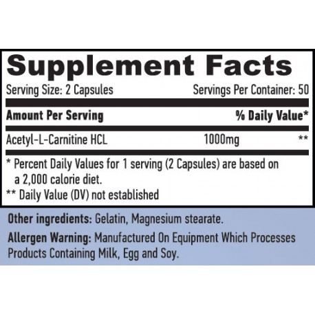 Haya Labs Acetyl L-Carnitine 1000 mg 100 caps