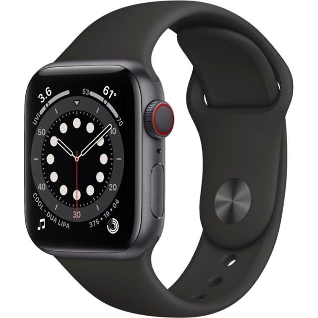 Watch Series 6 GPS + Cellular 40mm Space Gray Aluminum Case w. Black Sport B. (M02Q3)